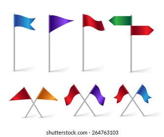 Colorful Set of Location and Destination Flag Icons for Navigation and Maps. Isolated Vector Illustration.