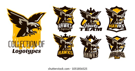 A colorful set of logos, stickers, emblems of flying eagle. Bird, hunter, predator, dangerous animal, shield, lettering. Mascot sports club, vector illustration