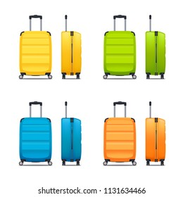 Colorful set of modern plastic suitcases with wheels and retractable handle in front and side view realistic vector illustration