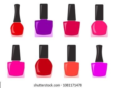 Colorful set of nail polish bottle. Vector illustration