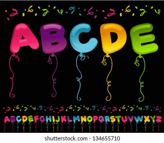 Colorful set of party balloons in alphabet shapes.