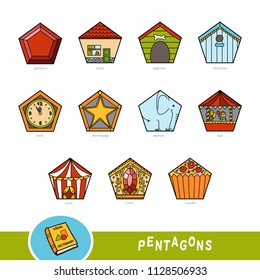 Colorful set of pentagon shape objects. Visual dictionary for children about geometric shapes. Education set for studying geometry.