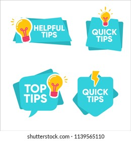 colorful set quick tips, top tips badge label , vector icon template collection