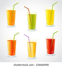 Colorful set of realistic glasses with juice and straw
