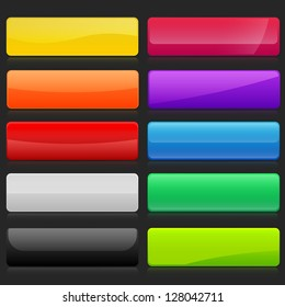 Colorful set of rectangle horizontal shiny banner buttons with different gloss reflections over, eps10 vector, color is easy to edit