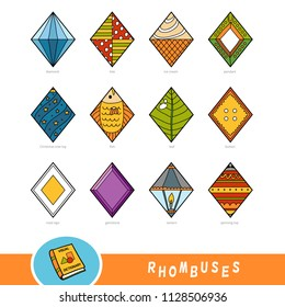 Colorful set of rhombus shape objects. Visual dictionary for children about geometric shapes. Education set for studying geometry.