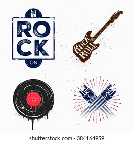 Colorful Set of rock and roll music signs, elements, labels. Music theme. Template for poster, cafe, banner, flyer, project or your art works.