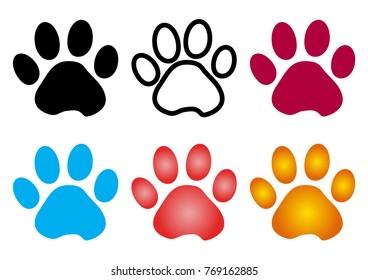 Colorful set of silhouette animal paw track. Outline and flat design. Vector illustration
