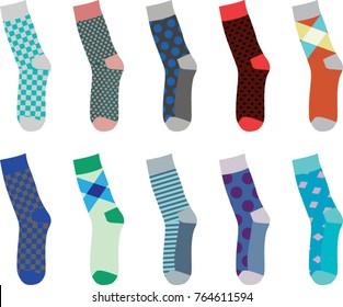 Colorful set of socks. vector illustration