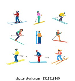 Colorful set of a lot of standing, going straight and down skiers in different positions