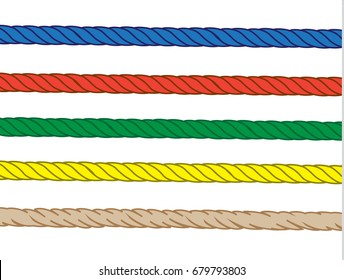 colorful set of straight nylon rope and burlap rope on white background, vector