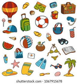 Colorful set of summer objects, vector cartoon collection