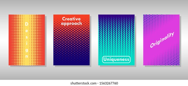 Colorful set of unique halftone covers for your projects. Vector illustration.