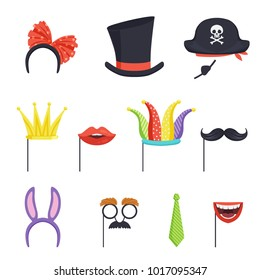 Colorful set with various carnival accessories. Hoop with bow and bunny ears, tie, cardboard crown, lips, mustache, jester cap, cylinder and pirate hat. Flat vector