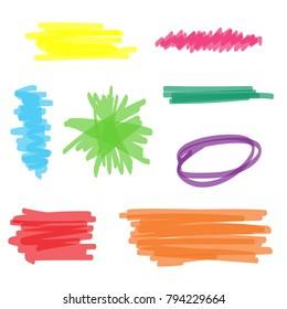 Colorful set of vector highlighter marker