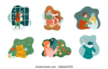 A colorful set of vector illustrations about how people celebrate Christmas. Cute hand drawn illustrations, people decorate the Christmas tree, funny cat, Christmas cookies, first snow, love couple