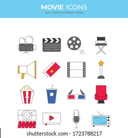 Colorful set of vector line movie icons. Such as, camera, clapboard, film, cinema, chair, popcorn, drink, 3D. Pixel perfect. Editable stroke.