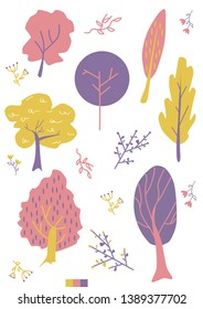 Colorful set of vector trees