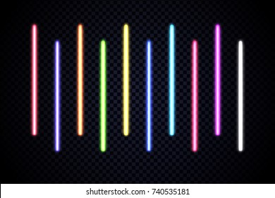 Colorful set of vivid laser rays. Vector illustration