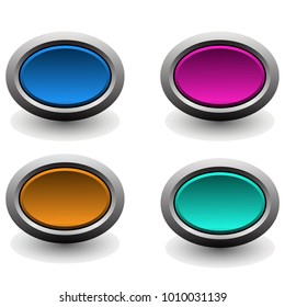 Colorful set of web buttons.vector Illustration
