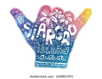 Colorful shaka hand symbol with graphic and lettering inside about Siargao island