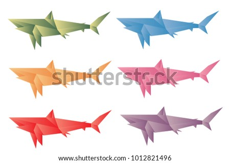 Colorful Shark Origami Vector Stock Vector Royalty Free 1012821496