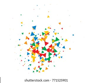 Colorful Shatter Vector Background. Atomic Bomb Explosion, Blast, Bang, Boom Concept. Broken Glass, Technology Futuristic Design. Moving Colorful Shatter Fragments. Cool Falling Triangles Explosion.
