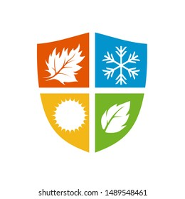 The Colorful shield with four season inside vector logo.