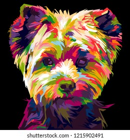 colorful shih-tzu dog. pop art illustration
