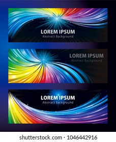 Colorful shining stars backgrounds banners set, for party entertainment and celebrations events.