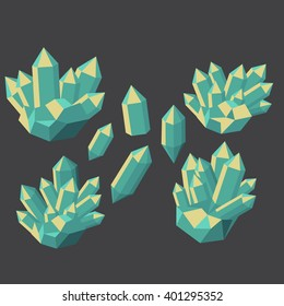 Colorful shiny bright crystals.  Polygon stone mineral and poly  shape rocks. Emerald crystal, ruby crystal, tourmaline crystal, quartz crystal, diamond crystal isolated vector