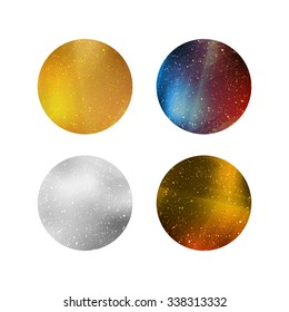 Colorful Shiny Isolated Circles. Silver, Gold and Colorful Metallic Backgrounds for Labels, Logos, Tags and Badges.