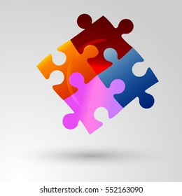 Colorful shiny puzzle vector illustration. Eps 10. Colorful jigsaw puzzle pieces concept on white wall background with shadow.
