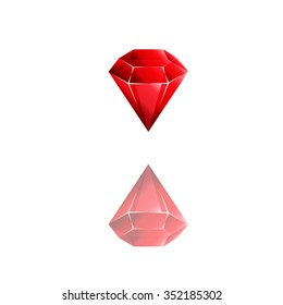 Colorful and shiny Rubin red, Vector Illustration EPS10. Vector diamond logo.