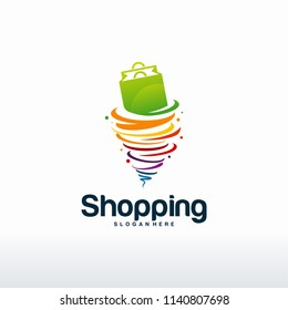 Colorful Shopping logo designs concept vector, Twist Sale logo template