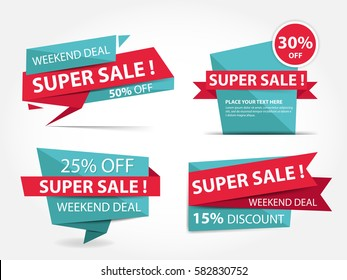 Colorful shopping sale banner template, discount sale banner collection set
