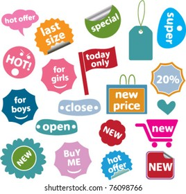 colorful shopping stickers, vector