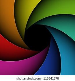 Colorful shutter aperture. Vector.