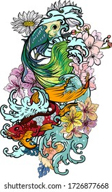 Colorful Siamese fighting fish or betta fish swimming in Japanese wave with peony and daisy flowers for hand drawn tattoo art design in  geometric and circular ornament frame.Arm sleeve tattoo