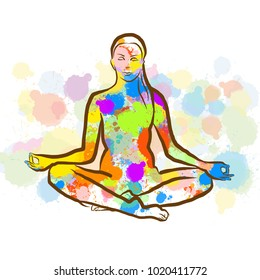 Colorful Siddhasana Yopa Pose. Hand Drawn Vector Illustration, Splatter Color Isolated on White Background. Creative  Communication Concept.