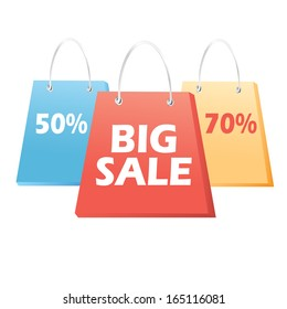 colorful signs with slogans bags sale on white background