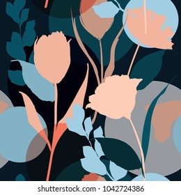 Colorful Silhouette Abstract seamless pattern with leaves and flowers Background with flowers vector on modern style.