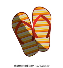 colorful silhouette of beach flip-flops with half shadow vector illustration