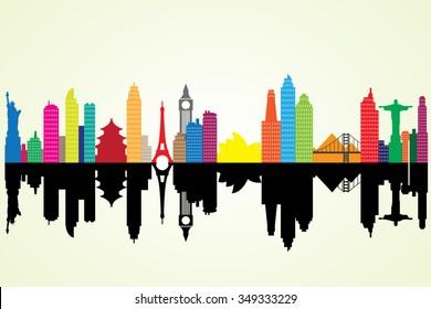 Colorful silhouette cityscape with famous building.