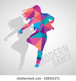Colorful silhouette of expressive girl dancing modern dance styles. Modern dance lettering. Multicolored detailed vector silhouette.