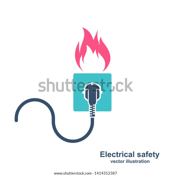 Colorful Silhouette Fire Wiring Socket Plug Stock Vector Royalty Free 1414352387