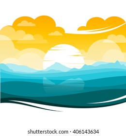 colorful silhouette landscape of Sunset/Sunrise ocean for graphic design and website