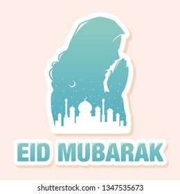 Colorful Silhouette of Muslim Praying Woman in Hijab with Mosque Landscape Vector Illustration Icon