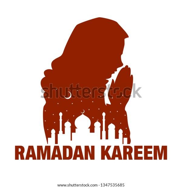Colorful Silhouette Muslim Praying Woman Hijab Stock Vector (Royalty