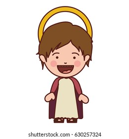 colorful silhouette of smiling image of child jesus vector illustration